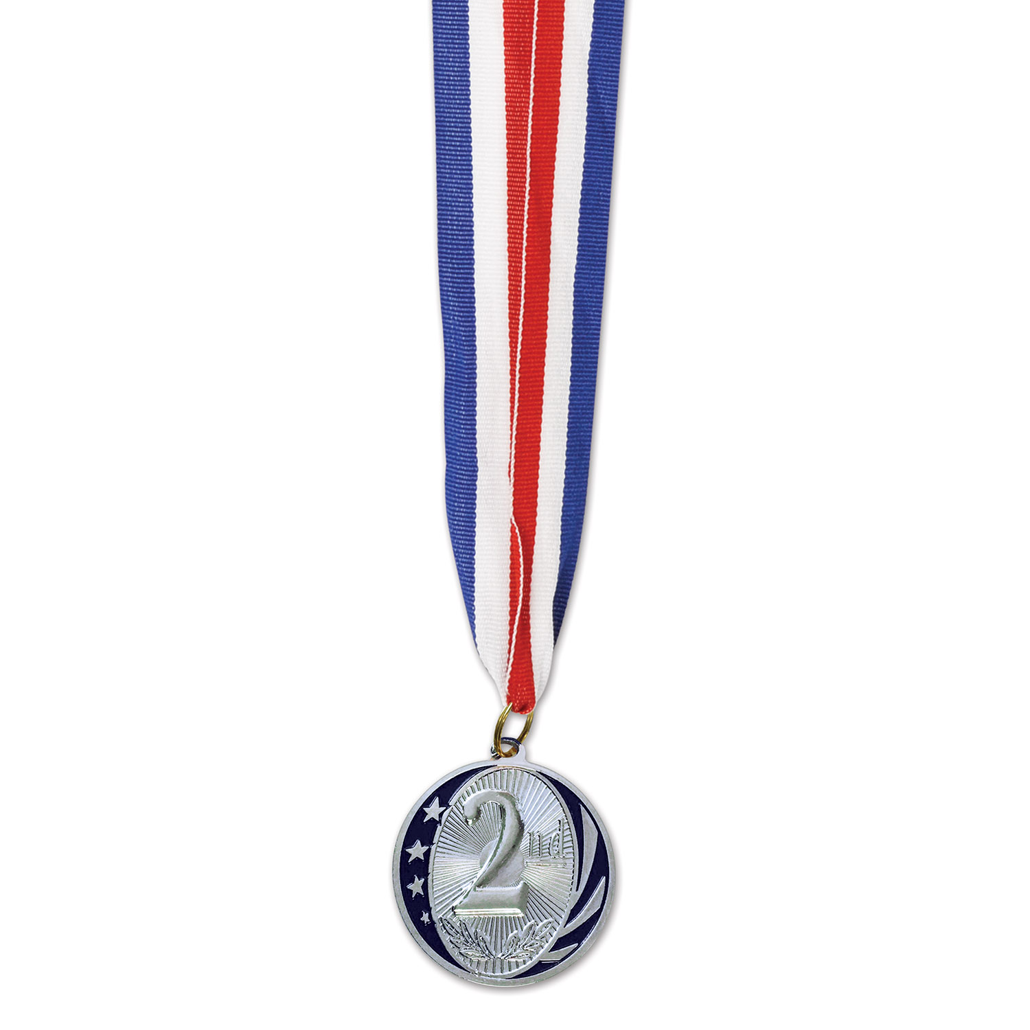 2nd Place Medal with Ribbon (Pack of 12) 2nd Place Medal, Second Place, Silver Medal, Sports Award, Sports Ribbon, Inexpensive Awards Medal, Wholesale party supplies