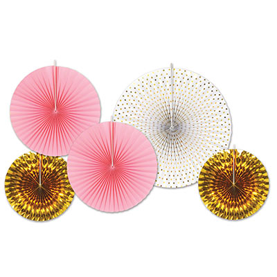 Assorted Sized Paper & Foil Decorative Fans