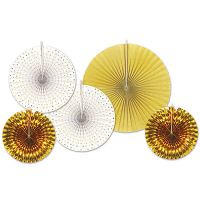Gold and White Assorted Sized Paper & Foil Decorative Fans