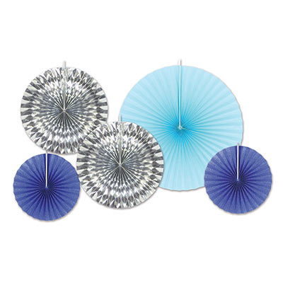 Decorative Fans (Pack of 60) Decorative Fans, decoration, silver, blue, fans, new years eve, wholesale, inexpensive, bulk