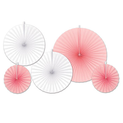 Assorted Sized Accordion Paper Fans in Pink and White