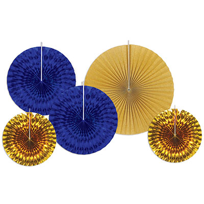 Assorted sized paper and foil fans in dark blue and gold.