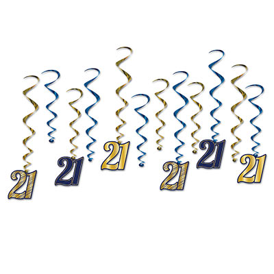 "Gold and Blue 21 Whirls with card stock ""21"" dangling"