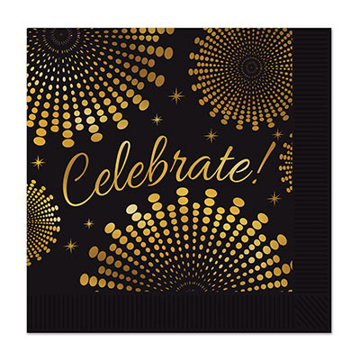 Balck luncheon napkins with metallic gold design and the word celebrate! printed on each