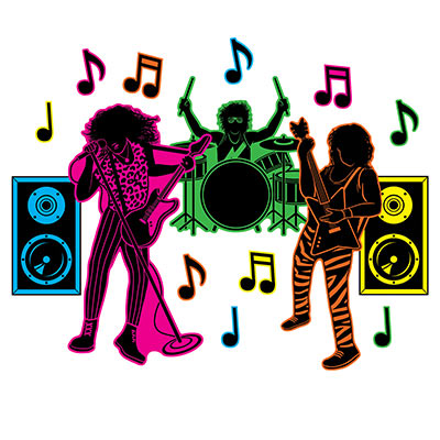 80s Hair Band Silhouettes (Pack of 180) 80s, Hair, Band, Silhouettes, cutouts,  music, signs