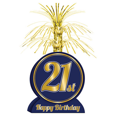 Navy Blue with Gold Lettering 21st Birthday Centerpiece