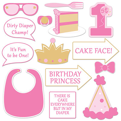 1st Birthday Photo Fun Signs for a Girl
