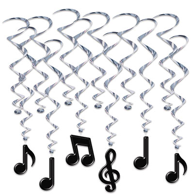 Black Musical Notes with Silver Whirls