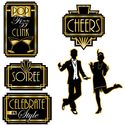 Great 20s Cutouts (Pack of 72) Great 20s Cutouts, 20s, cutouts, black, gold, white, new years eve, decoration, wholesale, inexpensive, bulk