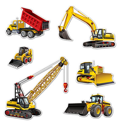 Construction Equipment Cutouts for a Themed Party