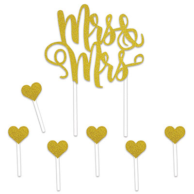 Gold Mrs & Mrs Cake Topper