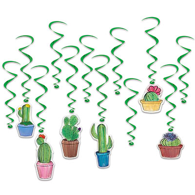 Cactus Whirls (Pack of 72) Cactus Whirls, cactus, whirls, fiesta, cinco de mayo, western, new years eve, decoration, wholesale, inexpensive, bulk