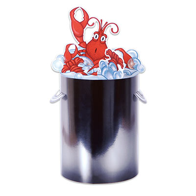 3-D Crawfish in a Silver Pot Centerpiece