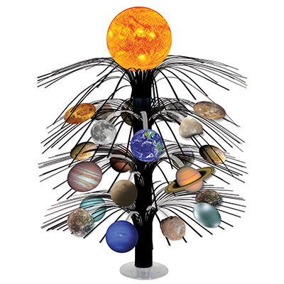 Cascade centerpiece with the solar system icons attached.