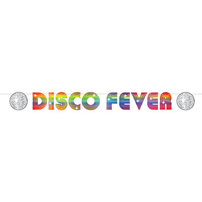 "The 70s Disco Fever Streamer is made of card stock material with bright colors and reads ""Disco Fever""."