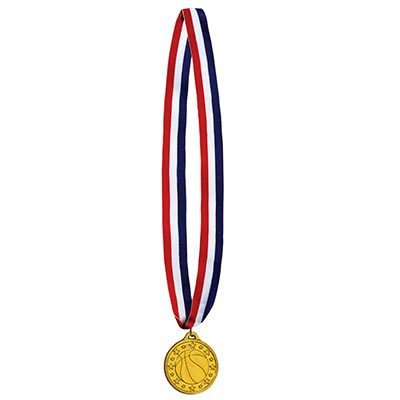 Patriotic striped ribbon with basketball medal made of plastic.