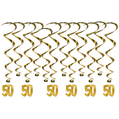 "Gold metallic whirls with ""50"" icons attached to the bottom of half."