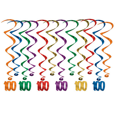 "Assorted colored metallic whirls with matching ""100"" icon attached."