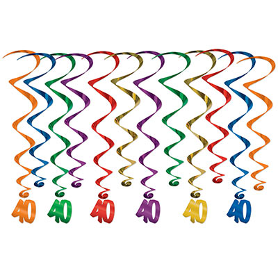 "Assorted colored metallic whirls with matching ""40"" icon attached."