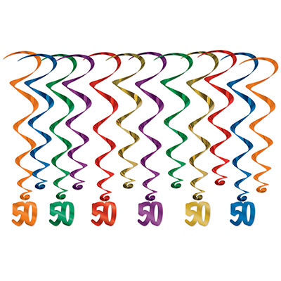 "Assorted colored metallic whirls with matching ""50"" icon attached."