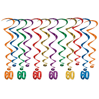 "Assorted colored metallic whirls with matching ""60"" icon attached."