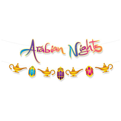 "Arabian Nights Streamer Set that reads ""Arabian Nights"" on one streamer and lanterns and mandala on the other with bright colors."