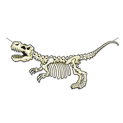 The T-Rex Skeleton Streamer is printed to replicate the fossils of a t-rex.