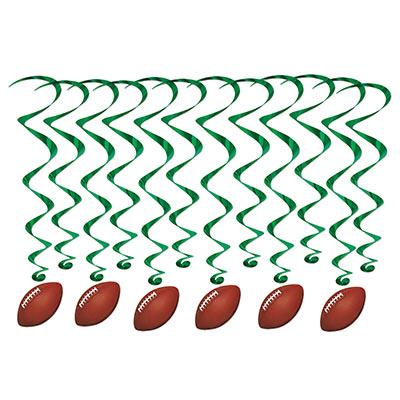 Football Whirls (Pack of 72) Football Whirls, football, whirls, sports, decoration, wholesale, inexpensive, bulk