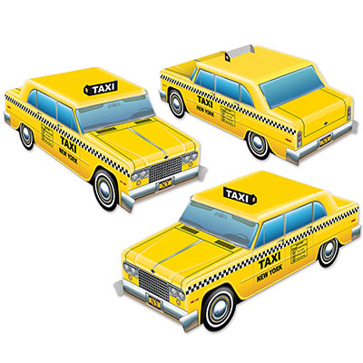 3-D Taxi Cab Centerpieces (Pack of 36) 3-D Taxi Cab Centerpieces, taxi cab, centerpiece, decoration, around the world, new years eve, prom, wholesale, inexpensive, bulk