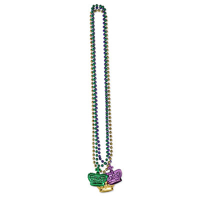 Beads with Crown Medallion (Pack of 36) Beads with Crown Medallion, beads, gold, green, purple, crown, party favor, mardi gras, wholesale, inexpensive, bulk