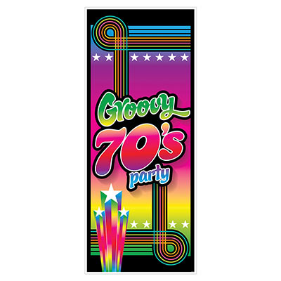70s Groovy Party Door Cover (Pack of 12) 70s Groovy Party Door Cover, 70s, new years eve, door cover, decoration, wholesale, inexpensive, bulk