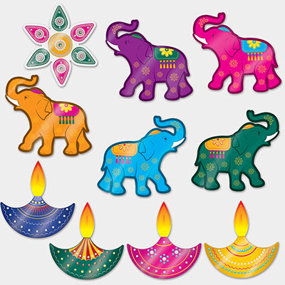 Foil Diwali Cutouts (Pack of 120) Foil Diwali Cutouts, Diwali, cutouts, elephant, lamps, wholesale, inexpensive, bulk, decoration