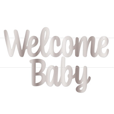 Foil Welcome Baby Streamer (Pack of 12) Foil Welcome Baby Streamer, welcome baby, baby shower, streamer, decoration, wholesale, inexpensive, bulk