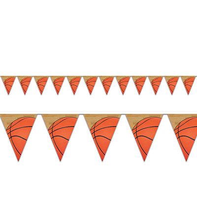 Basketball Pennant Banner (Pack of 12) Basketball Pennant Banner, basketball, banner, pennant, decoration, wholesale, inexpensive, bulk