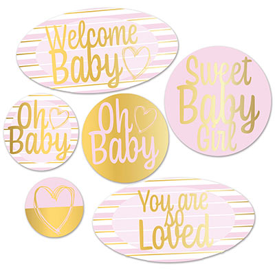 Foil Welcome Baby Cutouts (Pack of 72) Foil Welcome Baby Cutouts, welcome baby, boy, baby shower, decoration, wholesale, inexpensive, bulk