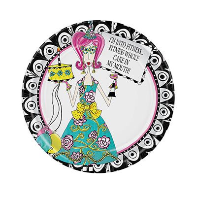 Dolly Mamas Fitness Plates (Pack of 96) Dolly Mamas Fitness Plates, dolly mama, fitness, plates, birthday, wholesale, inexpensive, bulk