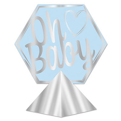 3-D Foil Oh Baby Centerpiece (Pack of 12) 3-D Foil Oh Baby Centerpiece, oh baby, baby shower, centerpiece, boy, wholesale, inexpensive, bulk