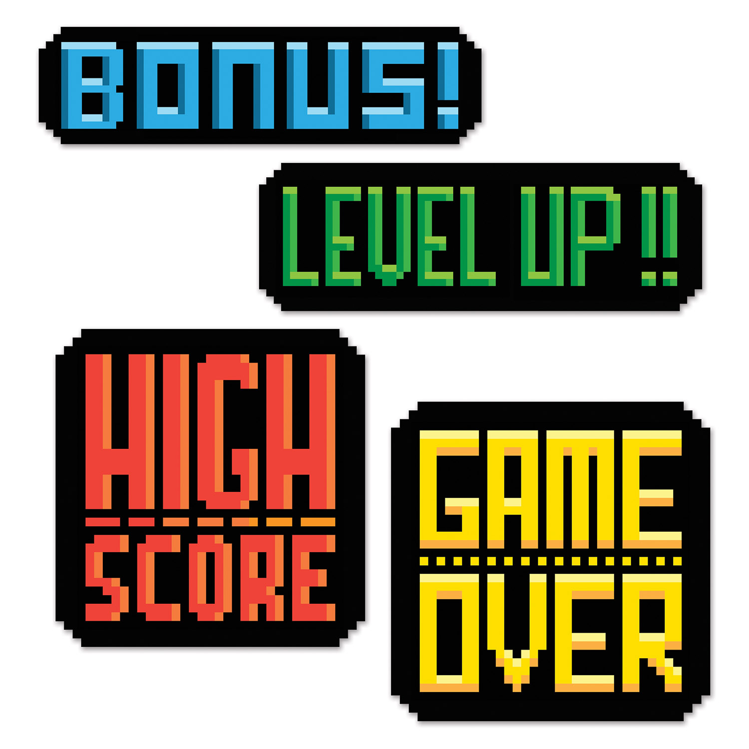 8-Bit Action Sign Cutouts (Pack of 48) 8-Bit Action Sign Cutouts, 80s, new years eve, decoration, gaming, 8-bit, game over, level up, wholesale, inexpensive, bulk