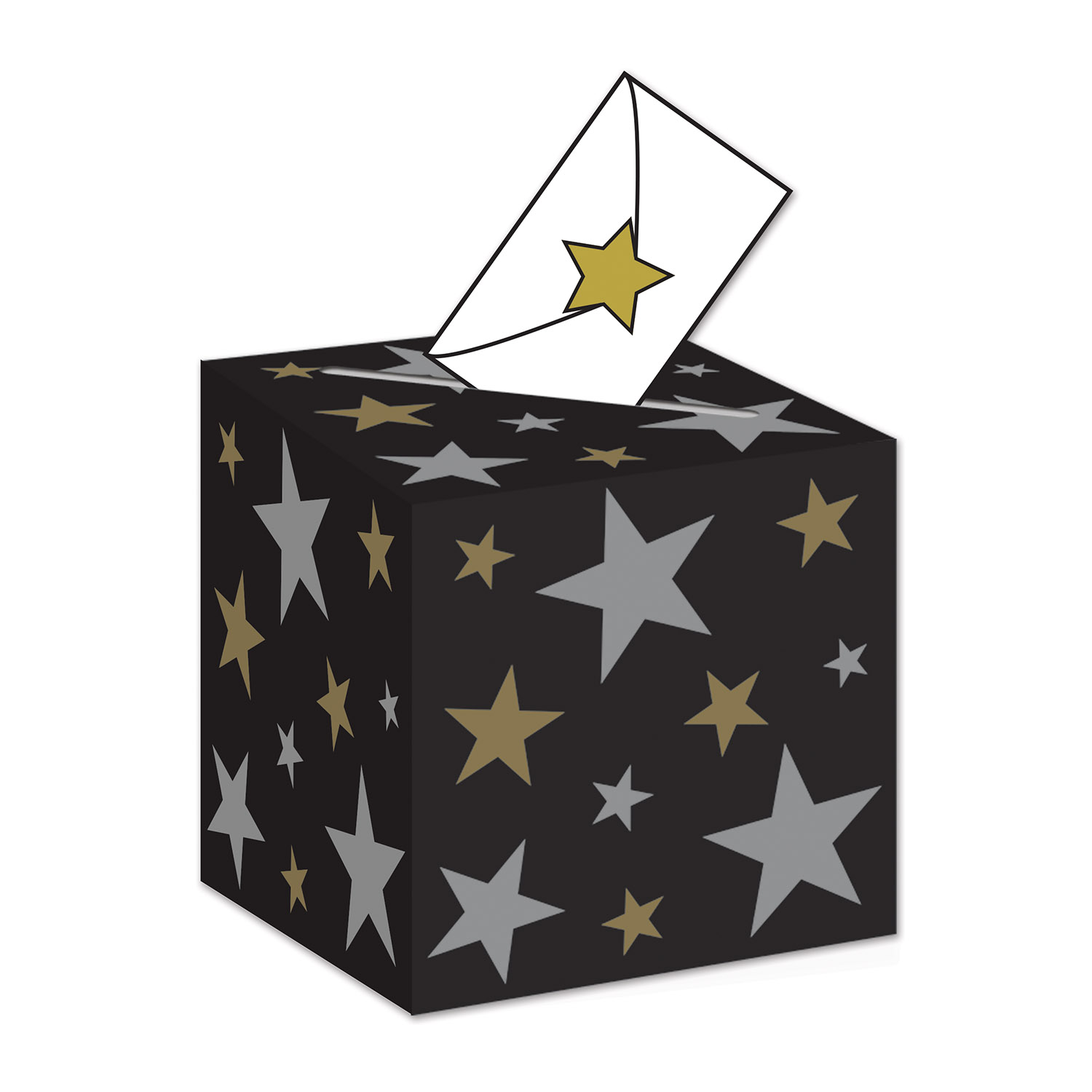 Awards Night Ballot Box (Pack of 6) Awards Night Ballot Box, decoration, hollywood, new years eve, black, gold, silver, stars, wholesale, inexpensive, bulk