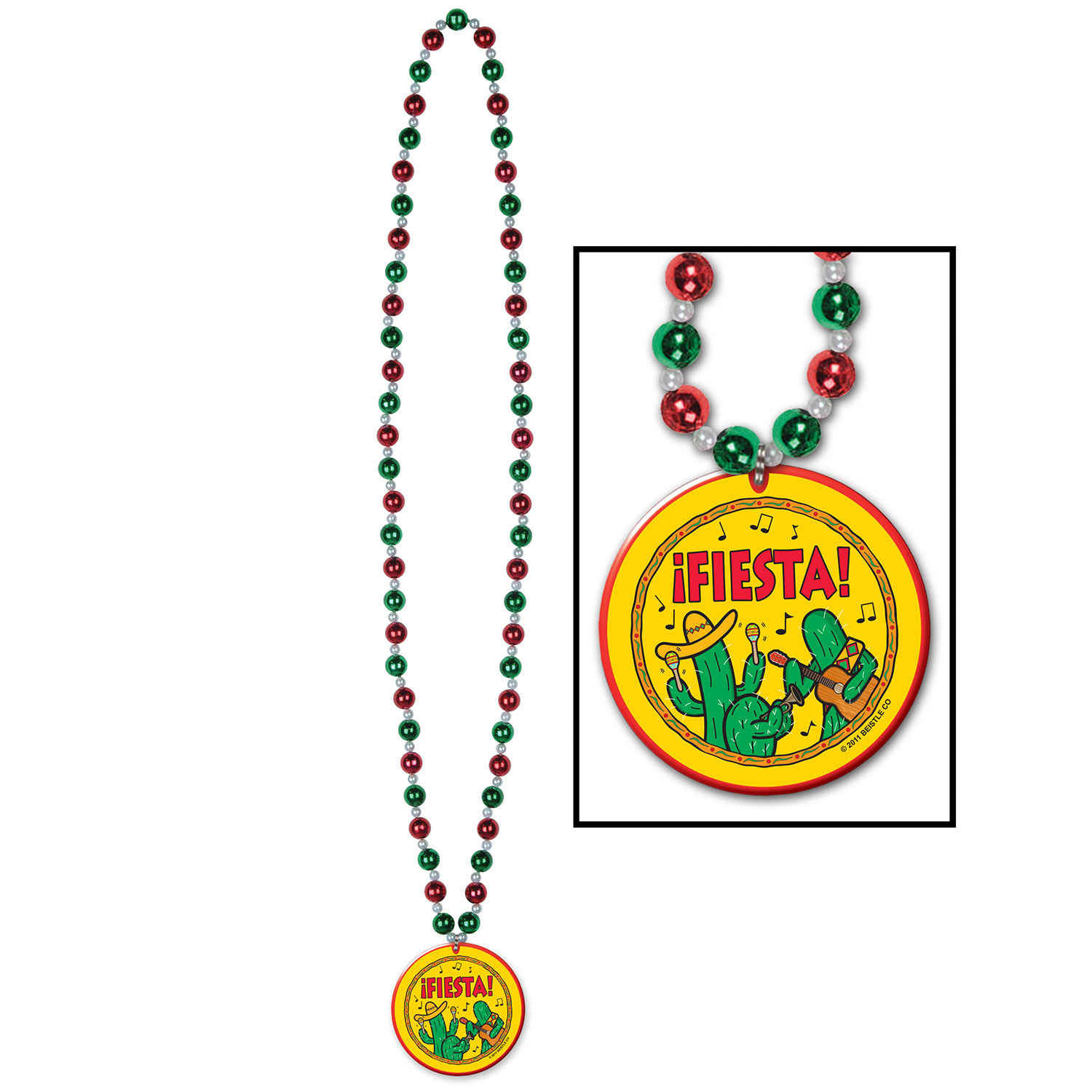 Beads w/Fiesta! Medallion (Pack of 12) Cinco De Mayo, beads, fiesta, medallion, international, mexican