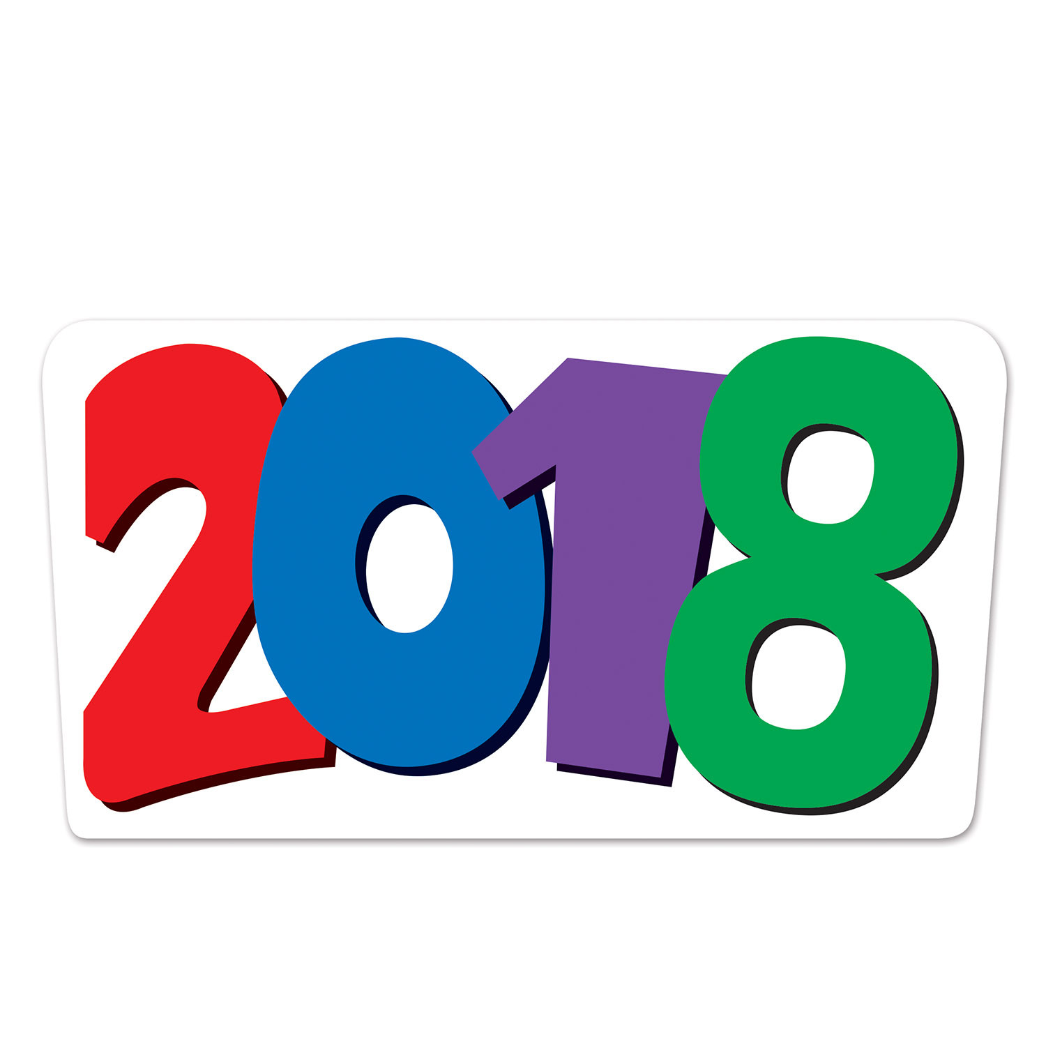 2018  Cutout (Pack of 12) 2018  Cutout, decoration, new years eve, multi-color, wholesale, inexpensive, bulk