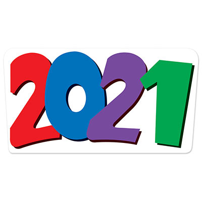 2021 Cutout (Pack of 12) 2021 Cutout, 2021, cutout, decoration, multi-color, new years eve, classroom, wholesale, inexpensive, bulk