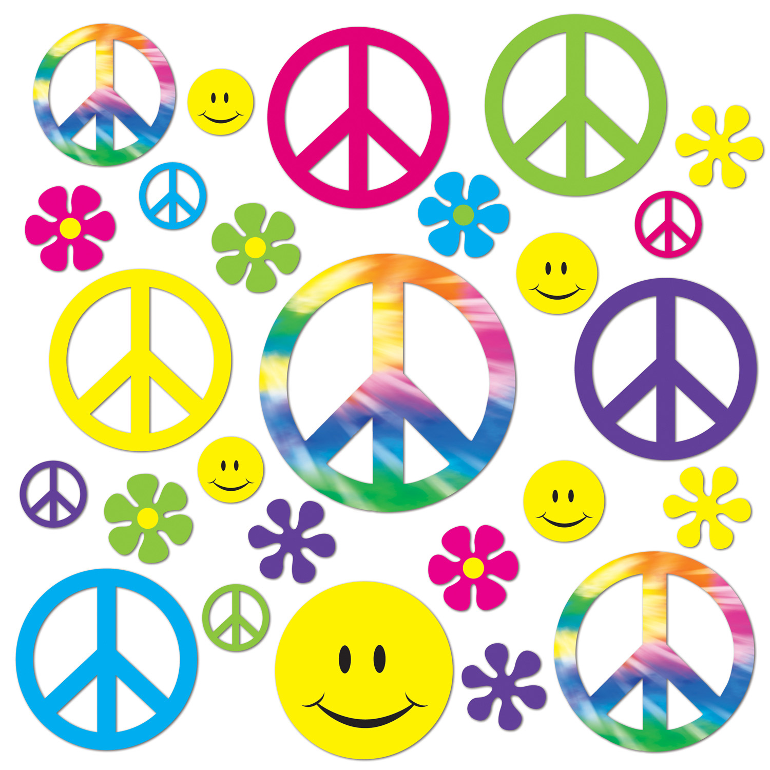 Retro 60s Cutouts (Pack of 504) Retro cutouts, Peace Flowers, Flower Power, Tie-Dye, Groovy decor, Peace Signs, 1960s cutouts, Cheap retro decor, Wall decor, Decorative signs