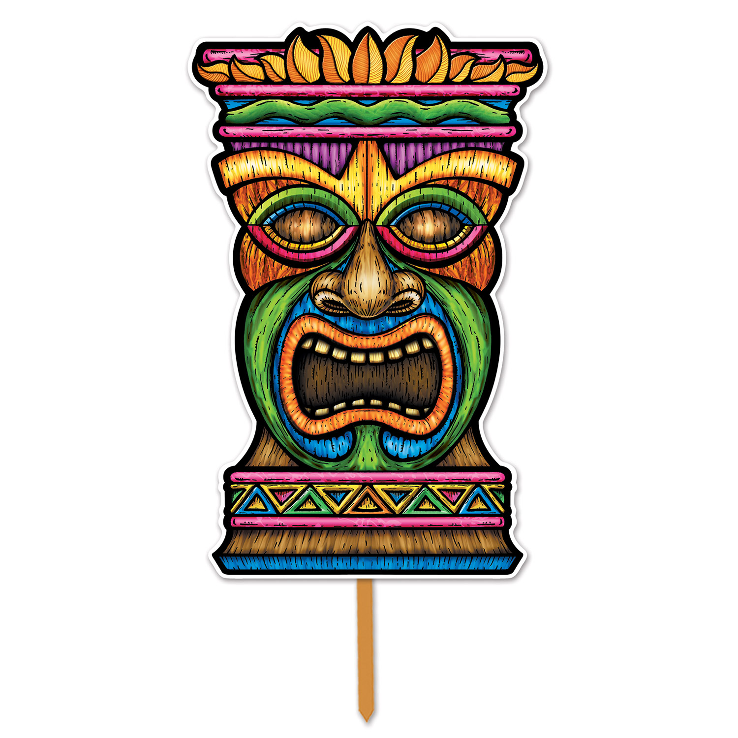 3-D Plastic Tiki Yard Sign (Pack of 6) 3-D Plastic Tiki Yard Sign, decoration, luau, new years eve, wholesale, inexpensive, bulk, outside
