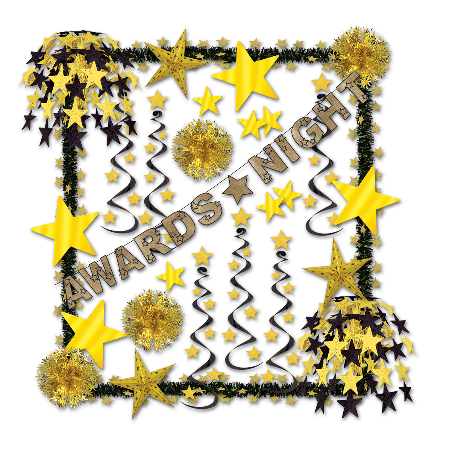 Awards Night Reflections Dec Kit  awards, night, reflections, decoration, kit, trim, garlands, banners, stars, whirls, tissue, balls, Hollywood, gold, black, party, pack, event,