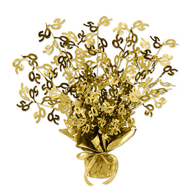 "The 50 Gleam N Burst Centerpiece is made of wire and metallic material in gold that includes ""50"" icons."