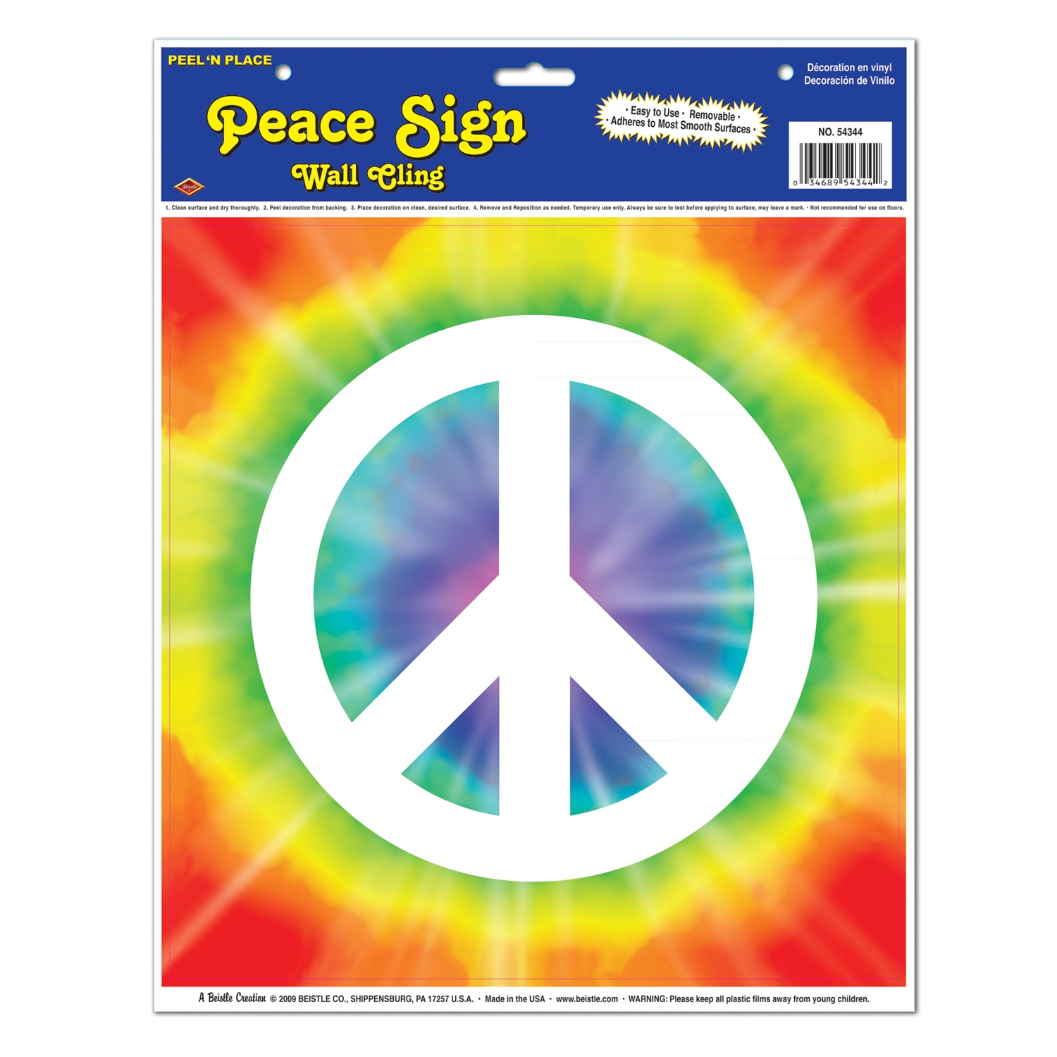 Peace Sign Peel N Place (Pack of 12) 1960s, Tie-Dye, Peace Signs, Wall Clings, Cheap wall decor, Retro party supplies, Wholesale decorations, Inexpensive peace sign