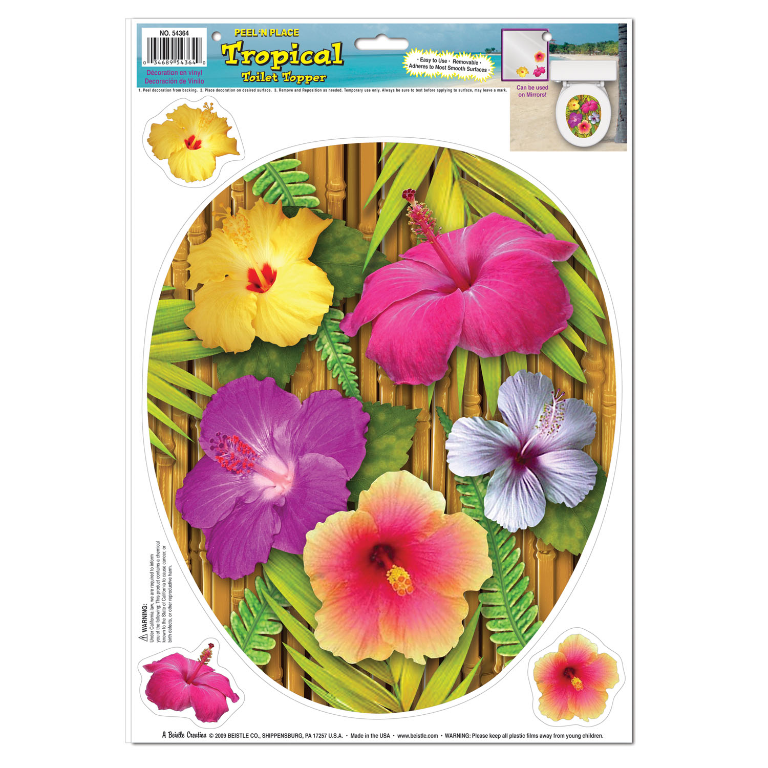 Tropical Toilet Topper Peel N Place (Pack of 12) Tropical Toilet Topper Peel N Place. decoration, luau, new years eve, wholesale, inexpensive, bulk