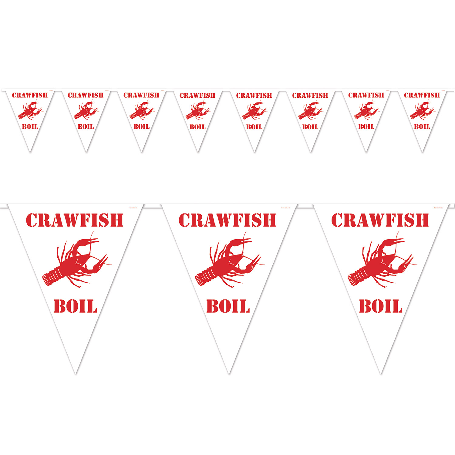 Crawfish Boil Pennant Banner (Pack of 12) Crawfish Boil Pennant Banner, decoration, mardi gras, crawfish, wholesale, inexpensive, bulk