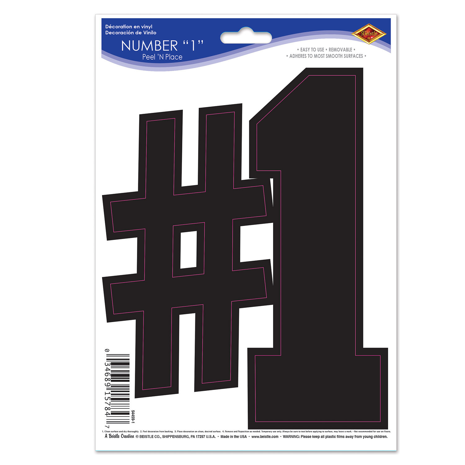 Black  1  Peel N Place (Pack of 12) Sports, #1, Sports numbers, peel N Place, game day